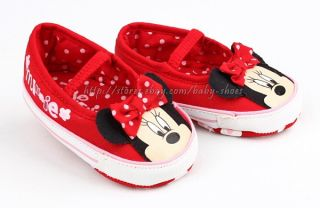 Toddler Baby Girls Minnie Mouse Slip on Crib Shoes Size 0 6 6 12 12 18 Months