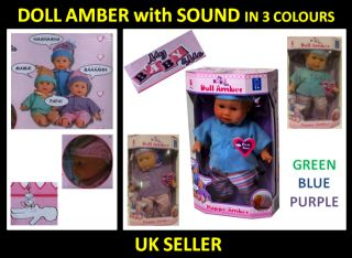 Doll Amber Girls Kids Baby Toys Talking Laughing Crying Papa Mama New Gift 30cm