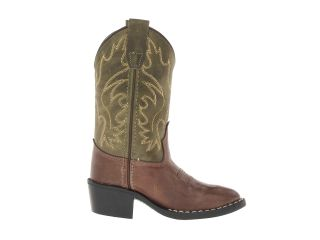 Old West Kids Boots J Toe Western Boot (Toddler/Little Kid) Choclate Barnwood Foot/Olive Green Shaft