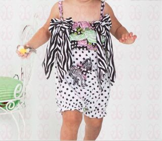 1pc New Baby Girls Bowknot Romper Bodysuit Clothes Zebra Stripe Outfits