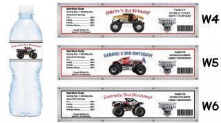 Monster Trucks Jam Printed Water Bottle Labels Birthday Party Favors Supplies