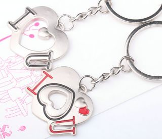 "Lovely Happiness Hearts ""I Love You"" Lover Couple Metal Key Chain Keychains"