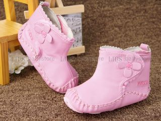 New Toddler Baby Girl White Pink Boots Shoes Size 3 6 9 Months