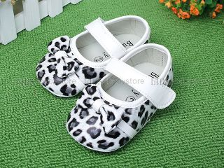 New Toddler Baby Girl White Brown Leopard Mary Jane Shoes UK Size 1 2 3