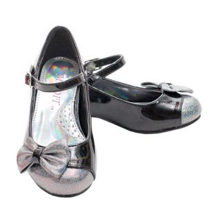 Little Girls Size 1 Black Sparkle Bow Ankle Strap heeled Dress Shoes