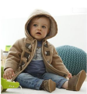 1pcs Baby Boys Toddler Winter Fleece Hooded Coat Jacket Gray Brown 1 2years