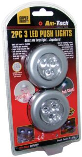 2 Pack of 3 LED Self Adhesive AAA Battery Push Lights DIY Camping Shed