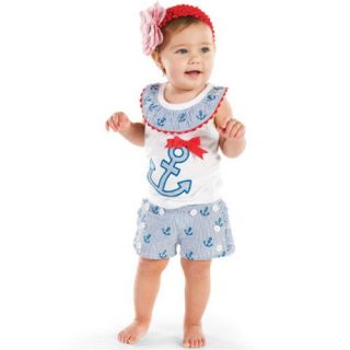 Mud Pie Boathouse Baby Anchor 2 Piece Set 12 18