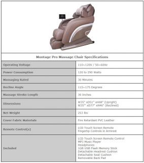 New Omega Montage Pro Grey Zero Gravity Full Body Massage Chair Recliner w LCD