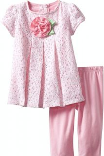 "New Baby Girls ""Pink White Daisy Lace"" Size 24M Top Leggings Clothes"