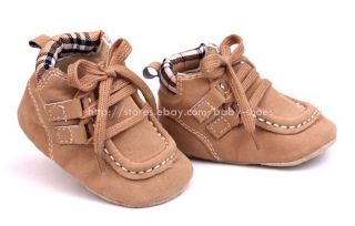 Toddler Baby Boy Khaki Boat Shoes Soft Sole Crib Shoes Size Newborn to 12 Months
