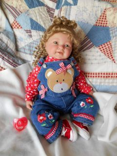 Sculpt Reborn Berenguer Toddler Baby Girl Doll Brooklin Long Curly Hair