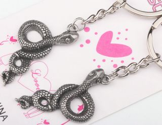Hot Lovely Beautiful Style Snake Lover Couple Metal Key Chain Keychains