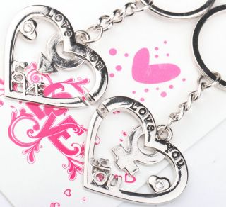 Lovely Sweet Love You Hearts Boy Girl Lover Couple Metal Key Chain Keychains