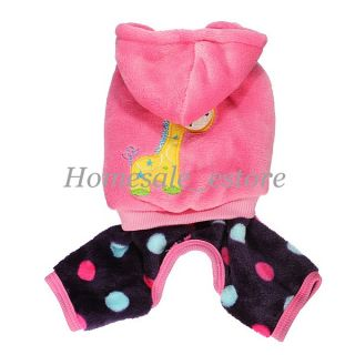 Winter Warm Pet Dog Puppy Coral Fleece Clothes Hat Hoodie Jumpsuit Coat Costumes