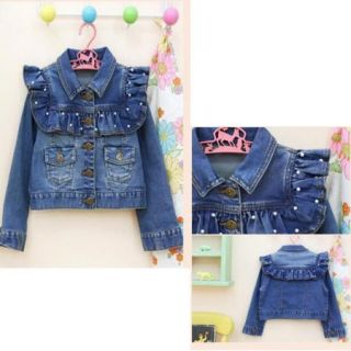 Girls Kid Jean Coat Jacket 3 7Y Outwear Denim Pearl Button Tulle Costume Cowboy