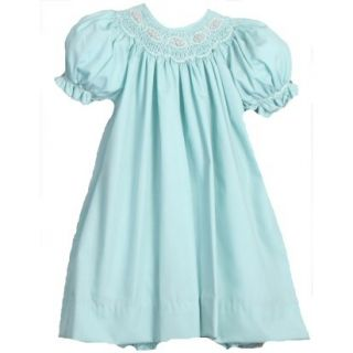 Embellished Petit Ami Smocked Bishop Boutique Dress in Soft Teal Aqua Green