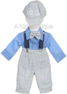 New Baby Boy Sky Blue Plaid Knickers Vintage Suit Outfit Set Easter Christmas