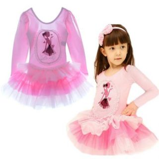 Girls Kids Leotard Ballet Tutu Pink Dancewear Bow Lace Skate Dress 4 5Y Clothing