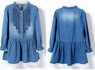 Jean Dresses Girls Baby Kids Cowboy Blue Lace Summer Clothing New Age 2 7yrs