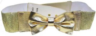 Stretch Material Cinch Belt Matching Leather Bow Gold