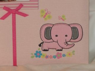 New Baby Girl Pink Embroidered Jungle Elephant Photo Album Holds 200 Photos