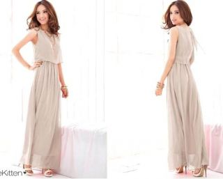 L214 Elegant Women Bohemia Maxi Boho Chiffon Sleeveless Long Dress Skirt Grey
