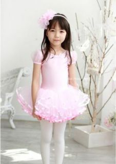 Girl Party Leotard Ballet Tutu Dance Dress 3 8Y Costume Short Sleeve Free SHIP