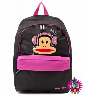 New Paul Frank Julius Monkey Headphones Pink Black Backpack Rucksack School Bag