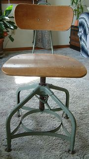 30s 40s Toledo Industrial Uhl Art Steel Machine Age Draftsman Stool Chair Adj