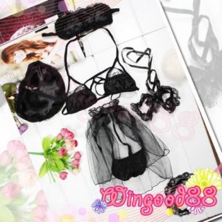 5 Items Women Lingerie Sexy Babydoll Bra G String Eye Mask Hand Leg Lace Ring