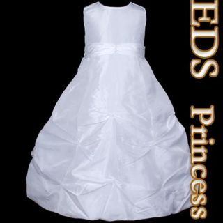 E710 4 White Flower Girls Pageant Princess Dress 3T 4T