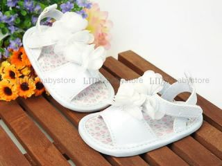 A582 New Toddler Baby Girl White Sandals Shoes Size 2