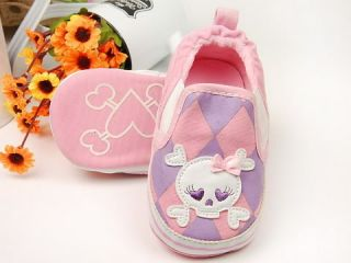 New Toddler Baby Girl Pink Checker Skull Shoes 9 12M