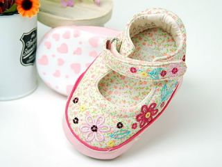 A57 New Toddler Baby Girl Bead Flower Shoes 6 18M