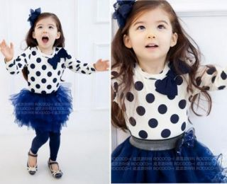 Toddler Girls Kids Clothes 2 Piece Set Dress Top Leggings Skirt S0 5Y Outfits
