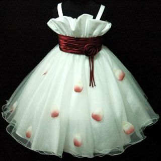 R818 Toddler Kid Girl Red Christmas Pageant Prom Girls Dress Sz 2 3 4 5 6 7 8 9T