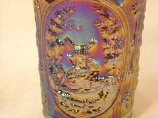 Beautiful Antique Imperial Carnival Glass Purple Windmill Medallions Tumbler