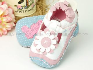 Baby Toddler Girl Flower White Pink Dress Shoes Szie 2 3 4 A659