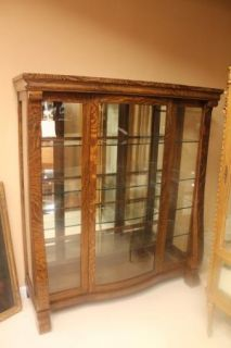 American Empire Tiger Oak China Curio Cabinet with Glass Doors and Sides C 19th