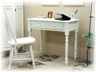 Charming Shabby Cottage Chic Antique Ivory Distressed Wood Writing Desk Table