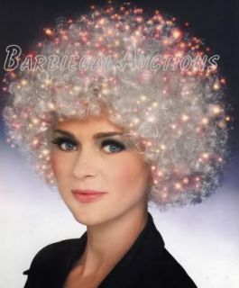 White Fiber Optic Afro Wig Lights Up Rave Costume 60's Sixties Male or Female