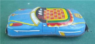 Vintage Japan Japenese Friction Drive Tin Litho Toy Blue Convertible Car 1950'S