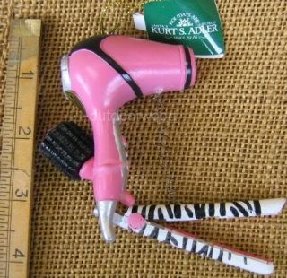 Pink Blow Dryer Flat Iron Brush Hair Stylist Beautician Beauty Shop Ornament