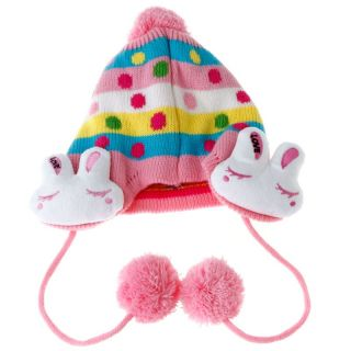 Cute Kid Boys Girls Baby's Bunny Ear Knit Wool Winter Cap Hat Beanie Pink H3100P