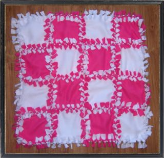 Personalized Monogram Custom Pink White Fleece Baby No Sew Blanket Quilt Gift
