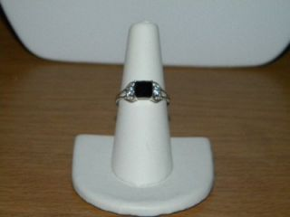 Avon Sterling Silver Black Sapphire Ring Size 7 New