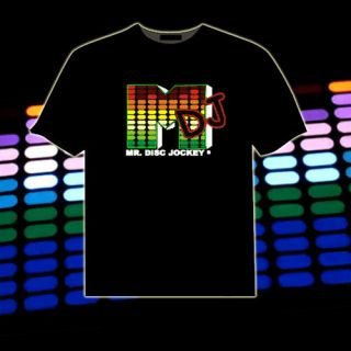 Music Sound Activated LED Light Up and Down El T Shirt Personality DJ XL