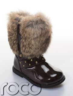 Girls Brown Winter Patent Desinger Monnalisa Style Boot Faux Fur Patent Shoes