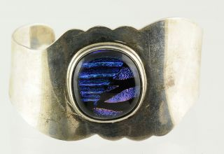 Vintage Taxco 925 Sterling Silver Iridescent Fused Blue Art Glass Cuff Bracelet